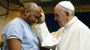 Pope Francis blesses a prisoner as he visits the Curran-Fromhold Correctional Facility in Philadelphia Sept. 27. (CNS photo| Paul Haring)