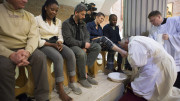Pope Francis kisses the foot of a female inmate during the Holy Thursday Mass at Rebibbia prison in Rome in this April 2, 2015, file photo. Following a request by Pope Francis, the Vatican issued a decree Jan. 21 specifying that the Holy Thursday foot-washing ritual can include women. (CNS photo | Reuters via L'Osservatore Romano)