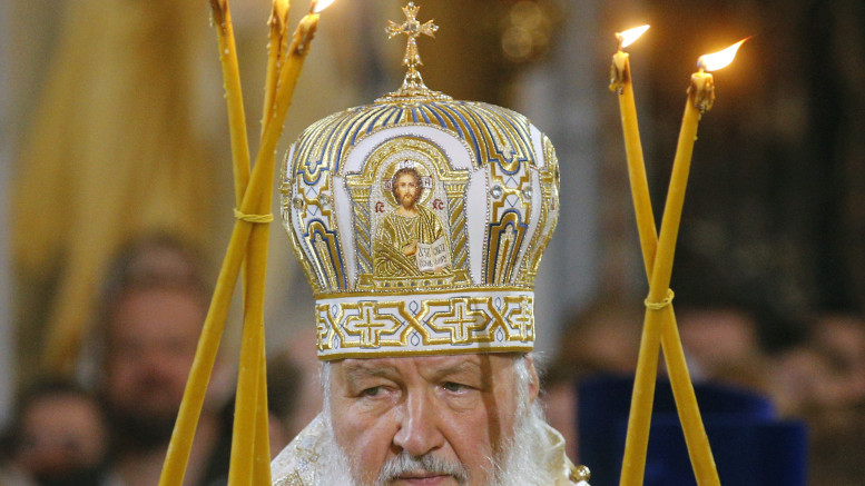 Russian Orthodox Patriarch Kirill reads a prayer during the Christmas service Jan. 7 at Christ the Savior Cathedral in Moscow. After almost three decades of tense Catholic-Russian Orthodox relations, Pope Francis will meet Patriarch Kirill Feb. 12 in Cuba, en route to Mexico. (CNS photo | Sergei Chirikov, EPA)