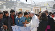Pope Francis meets refugees at the Moria refugee camp on the island of Lesbos, Greece, April 16, 2016. (CNS photo | Paul Haring)